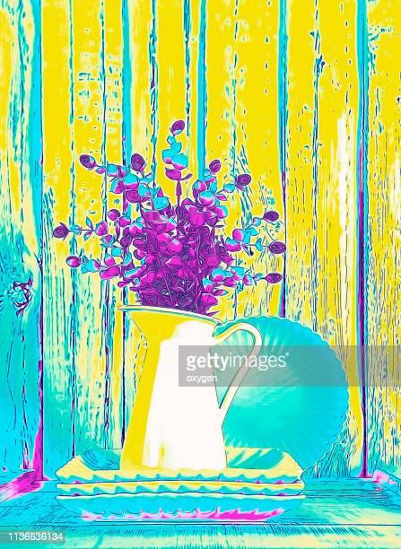pop art multicoloredneon stile life composition - impressionism stock pictures, royalty-free photos & images