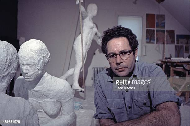 Pop art painter and sculptor George Segal photographed in his studio in 1969