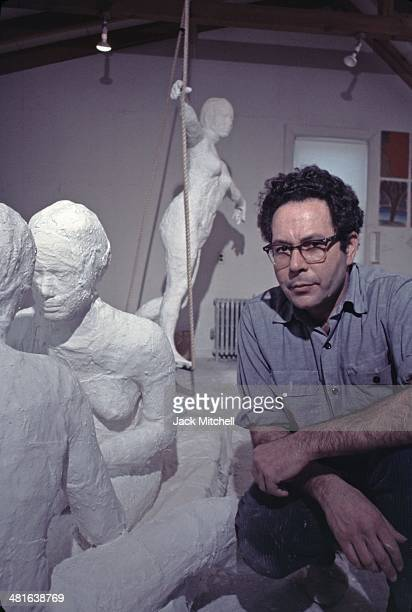 Pop art painter and sculptor George Segal photographed in his studio in 1969.