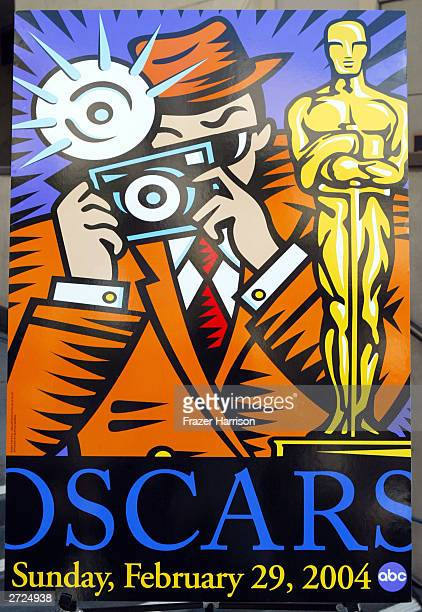 Pop Artist Burton Morris's 76th Academy Awards 2004 Oscar poster is seen during it's unveiling ceremony at Hollywood and Highland the home of the...