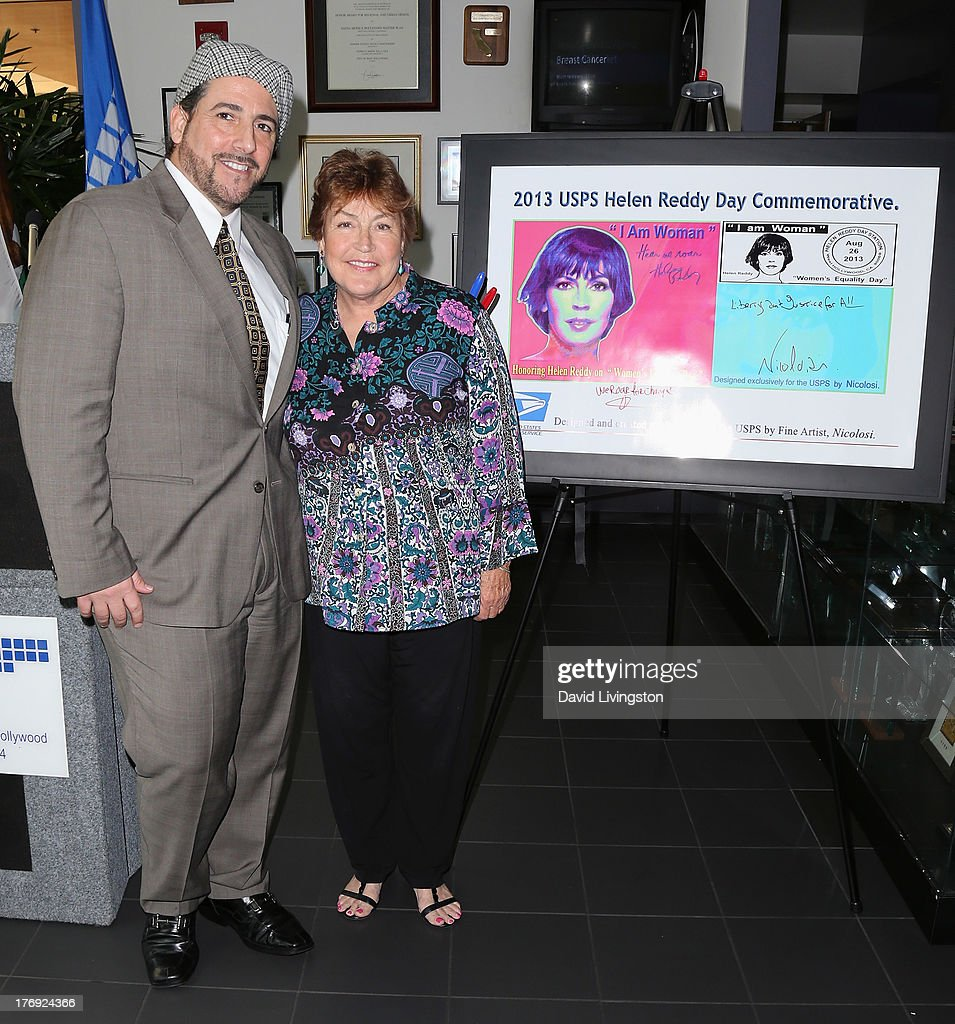 Pop artist Nicolosi (L) and recording artist Helen Reddy attend the unveiling of the new United States Postal Service special pictorial postmark featuring Helen Reddy on August 19, 2013 in West Hollywood, California.
