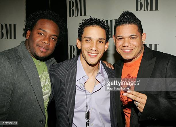Pop artists Ammy David and Gio of Voz A Voz arrive at the BMI's 13th Annual Latin Awards at the 18th Street Pavilion on April 07 2005 in New York City