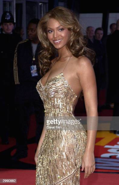Pop band Beyonce Knowles arrives at the 'Brit Awards 2004' at Earls Court 2 on February 17 2004 in London Beyonce is nominated for International...