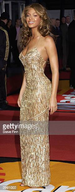 Pop band Beyonce Knowles arrives at the Brit Awards 2004 at Earls Court 2 on February 17 2004 in London Beyonce is nominated for International Female...