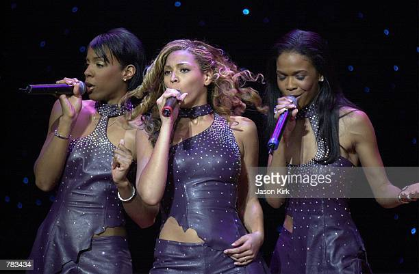 Pop band Destiny's Child perform live at the Soul Train 30th Anniversary private concert during the NATPE convention January 24 2001 in Las Vegas NV...