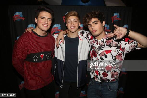 Pop band 'Forever In Your Mind' Ricky Garcia Liam Attridge and Emery Kelly pose while promoting their new single 'Rabbit Hole' at Planet Hollywood...