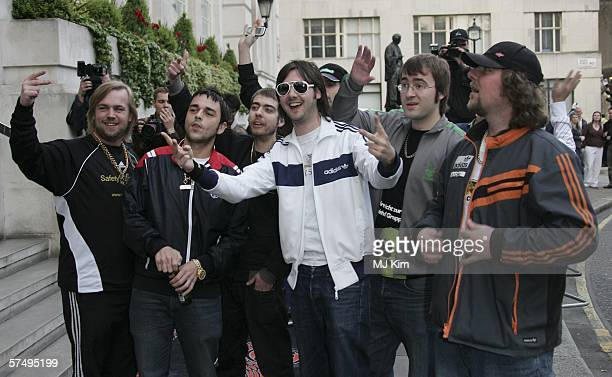 Pop band Goldie Lookin' Chain arrive at Gumball 3000 film premiere 2006 rally launch party at Savoy Place on April 29 2006 in London England