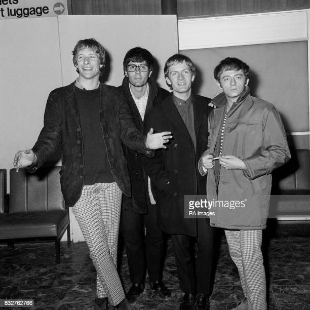 Pop Band Manfred Mann arrive back from a visit to Australia Paul Jones Manfred Mann Mike Vickers and Mike Hugg The fifth band member Tom McGuinness...