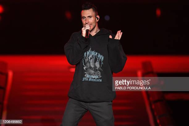 Pop band Maroon 5 singer Adam Levine performs in Montevideo on March 10, 2020.