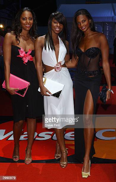 Pop band Misteeq arrive at the Brit Awards 2004 at Earls Court 2 on February 17 2004 in London