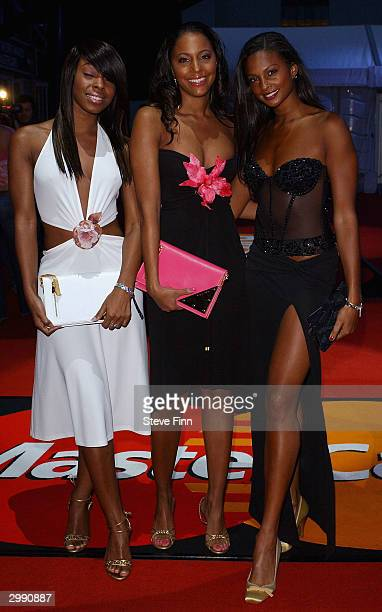 Pop band Misteeq arrives at the Brit Awards 2004 at Earls Court 2 on February 17 2004 in London
