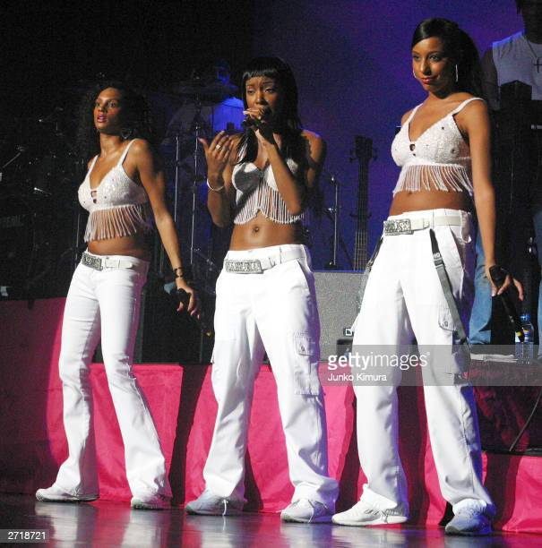 Pop band Misteeq perform on stage on November 11 2003 in Tokyo Japan