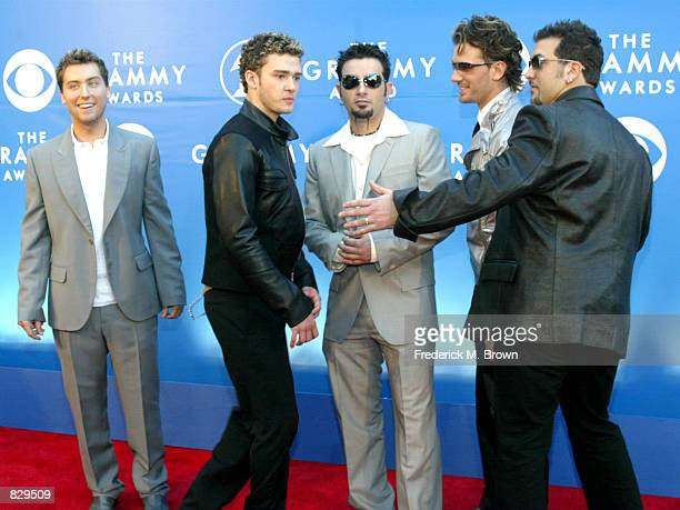 Pop band ''NSYNC attends the 44th Annual Grammy Awards at Staples Center February 27 2002 in Los Angeles CA