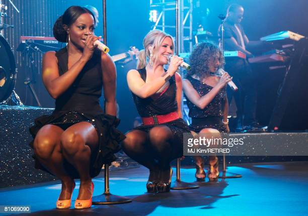 Pop band Sugababes perform during the after party following the premiere of 'Sex and the City The Movie' at Old Billingsgate Market May 12 2008 in...