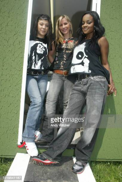 Pop band Sugababes photographed back-stage at Glastonbury in 2003