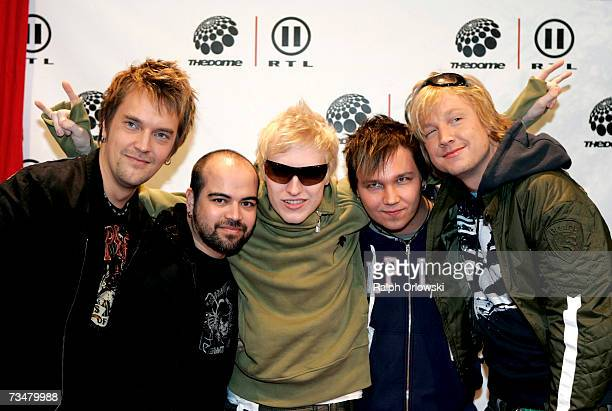 Pop band Sunrise Avenue arrive at 'The Dome 41' music show at the SAP Arena March 2 2007 in Mannheim Germany