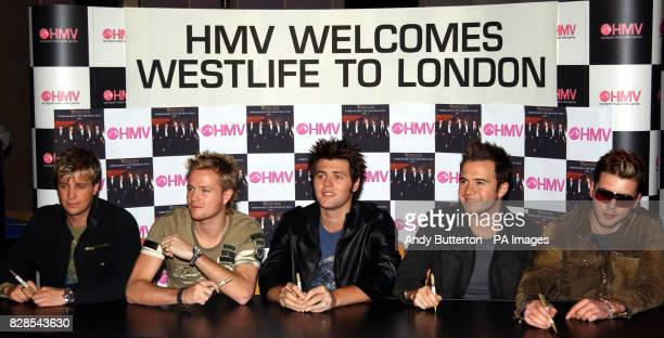 Pop band Westlife complete the final leg of their 36 hour launch tour for their new album 'Unbreakable' at HMV, Trocedero in London. Westlife are...