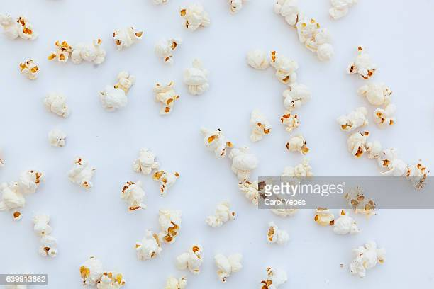 pop corn in a white background.Flat lay.