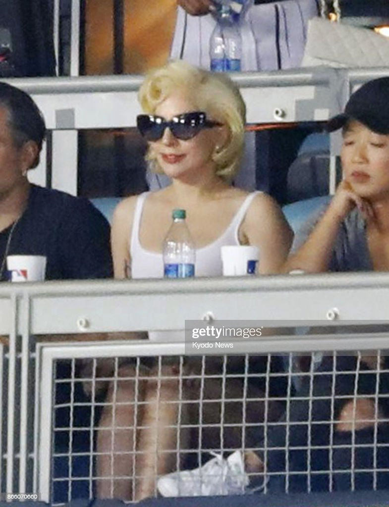 Pop Diva Lady Gaga Watches Game 1 Of The World Series Between The