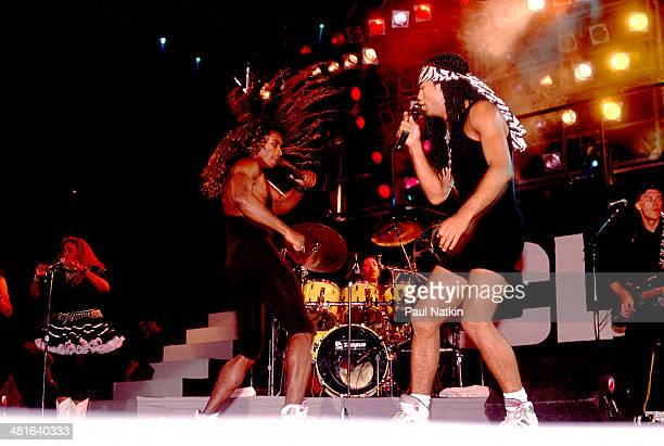 Pop duo Milli Vanilli with Fab Morvan and Rob Pilatus perform onstage Chicago Illinois July 8 1989