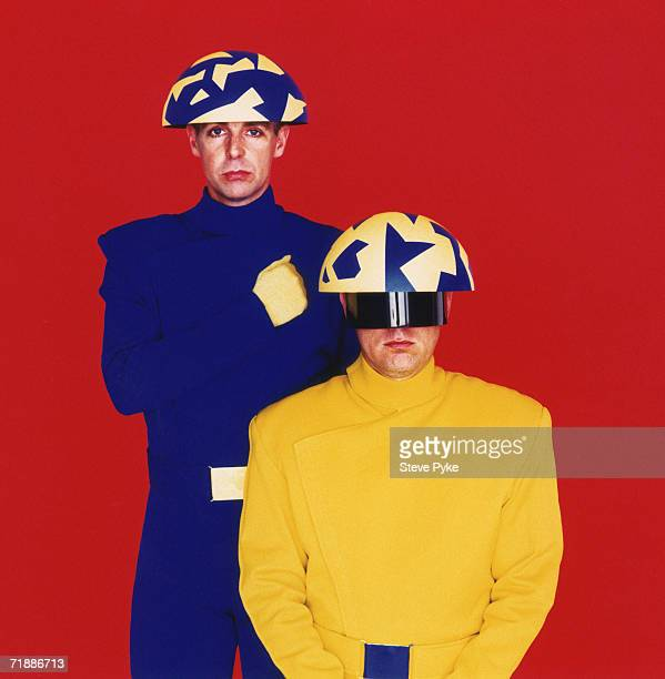 Pop duo The Pet Shop Boys Neil Tennant left and Chris Lowe wearing costumes that appear in the video for their 'Go West' single 1993
