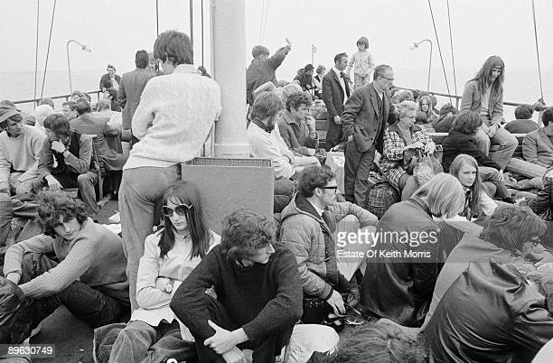 Pop fans travelling to the Isle of Wight Festival on the Isle of Wight ferry circa 1970