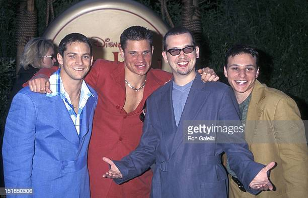 Pop grou 98 Degrees Jeff Timmons Nick Lachey Justin Jeffre and Drew Lachey attend the 'Mulan' Hollywood Premiere on June 5 1998 at the Hollywood Bowl...