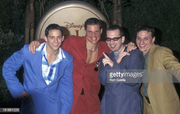 Pop grou 98 Degrees Jeff Timmons Nick Lachey Justin Jeffre and Drew Lachey attend the Mulan Hollywood Premiere on June 5 1998 at the Hollywood Bowl...