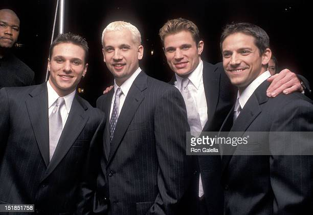 Pop group 98 Degrees Drew Lachey Justin Jeffre Nick Lachey and Jeff Timmons attend Radio City Music Hall's Grand ReOpening Gala on October 4 1999 at...