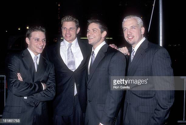 Pop group 98 Degrees Drew Lachey Nick Lachey Jeff Timmons and Justin Jeffre attend Radio City Music Hall's Grand ReOpening Gala on October 4 1999 at...