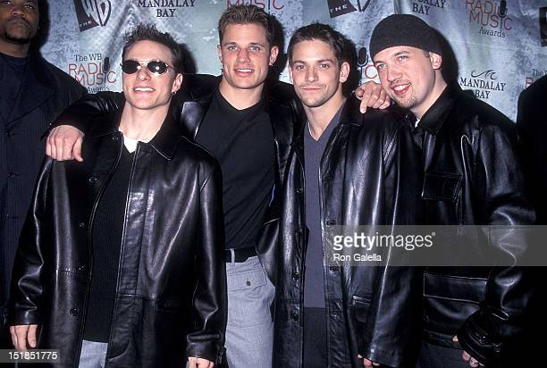 Pop group 98 Degrees Drew Lachey Nick Lachey Jeff Timmons and Justin Jeffre attend the First Annual Radio Music Awards on October 28 1999 at the...