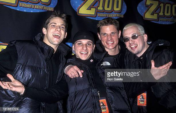 Pop group 98 Degrees Jeff Timmons Drew Lachey Nick Lachey and Justin Jeffre attend Z100's Fourth Annual 'Jingle Ball' Concert on December 17 1998 at...