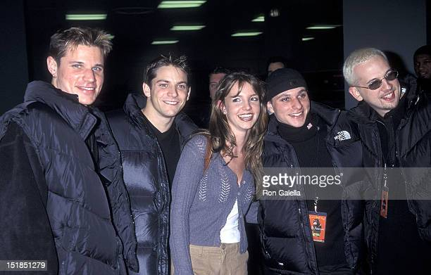 Pop group 98 Degrees Jeff Timmons Drew Lachey Nick Lachey and Justin Jeffre and singer Britney Spears attend Z100's Fourth Annual 'Jingle Ball'...