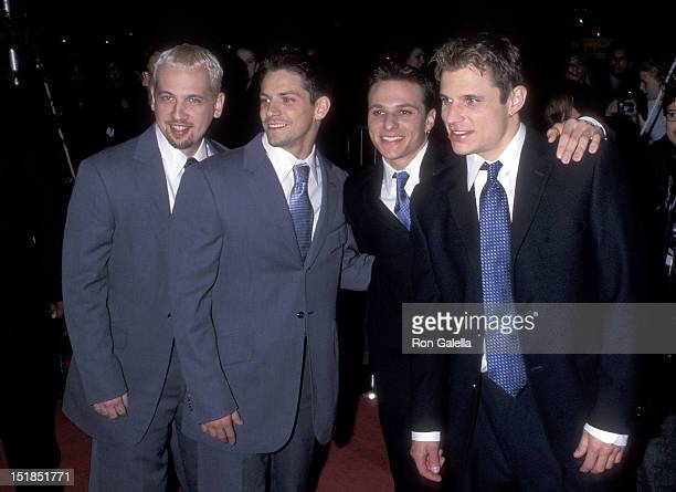 Pop group 98 Degrees Justin Jeffre Jeff Timmons Drew Lachey and Nick Lachey attend People Magazine's 25th Anniversary Celebration on October 14 1999...