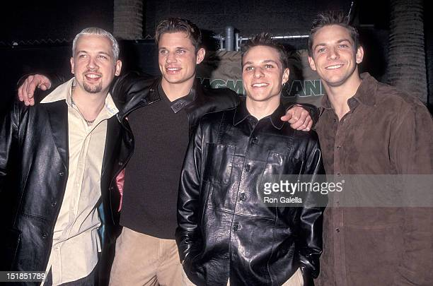 Pop group 98 Degrees Justin Jeffre Nick Lachey Drew Lachey and Jeff Timmons attend the 10th Annual Billboard Music Awards on December 8 1999 at the...