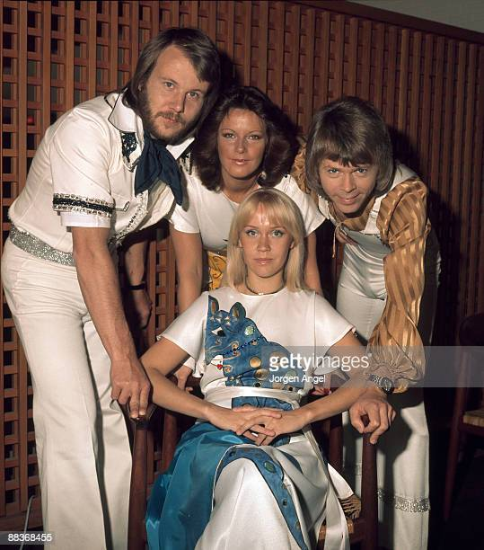 Pop group Abba pose for a group shot Benny Andersson AnniFrid Lyngstad Agnetha Fältskog and Björn Ulvaeus in May 1975 in Copenhagen Denmark