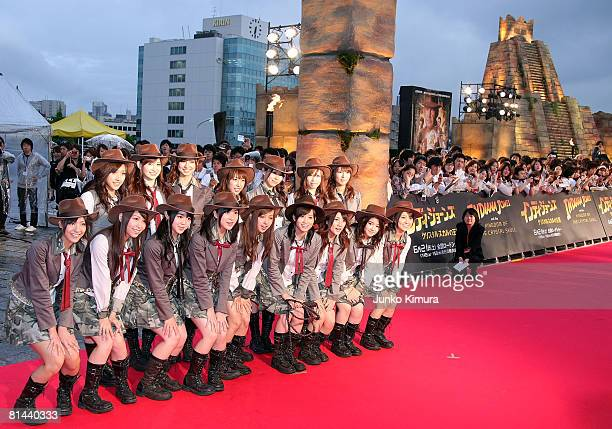 """Pop group AKB 48 attend """"Indiana Jones and the Kingdom of the Crystal Skull"""" Japan Premiere at the National Yoyogi Gymnasium on June 5, 2008 in..."""