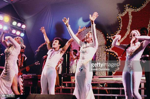 Pop group Boney M performing circa 1978 Left to right Maizie Williams Bobby Farrell Marcia Barrett and Liz Mitchell