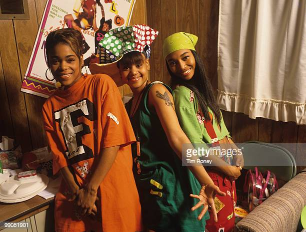 TLC Tionne 'TBoz' Watkins Lisa 'Left Eye' Lopes and Rozonda 'Chilli' Thomas pop group circa 1995