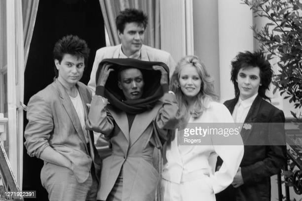 Pop group Duran Duran with actresses Grace Jones and Tanya Roberts, stars of the new James Bond film 'A View to a Kill', London, 13th June 1985. The...