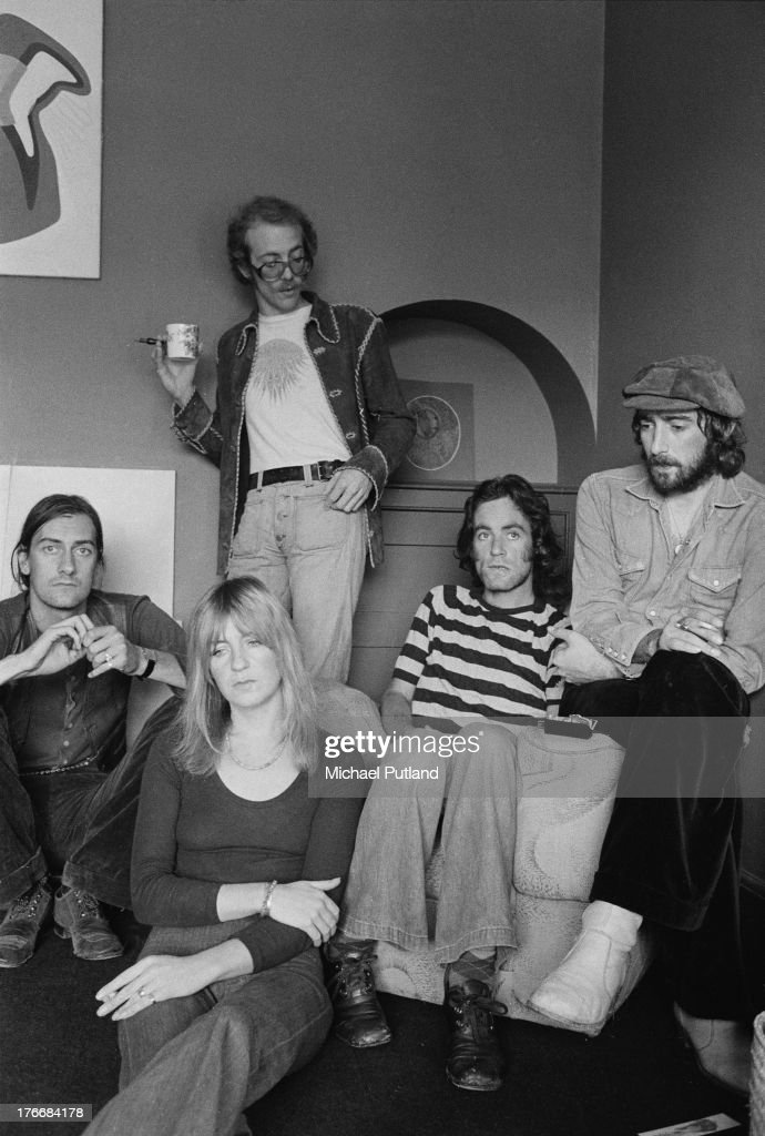 Pop group Fleetwood Mac, September 1973. Left to right: drummer Mick Fleetwood, singer and keyboard player Christine McVie, guitarist Bob Welch (1945 - 2012, standing), guitarist Bob Weston (1947 - 2012) and bassist John McVie.