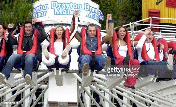 Pop group Hear'Say Johnny Shentall Suzanne Shaw Danny Foster Myleene Klass and Noel Sullivan enjoy the new ride 'Maelstrom' during their visit to...