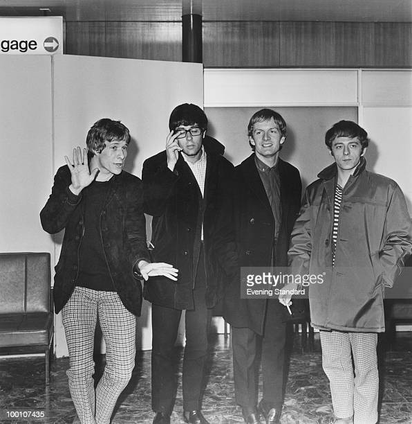 Pop group Manfred Mann at London Airport 10th February 1965 Left to right singer Paul Jones Keyboard player Manfred Mann guitarist Mike Vickers and...