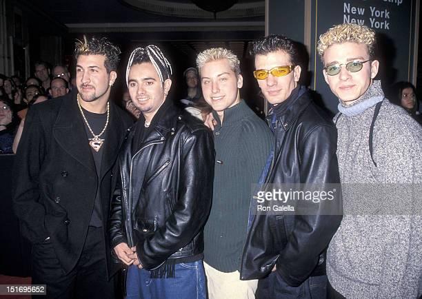 Pop group NSYNC: Joey Fatone, Chris Kirkpatrick, Lance Bass, JC Chasez and Justin Timberlake attend the Ninth Annual Billboard Music Awards Pre-Party...