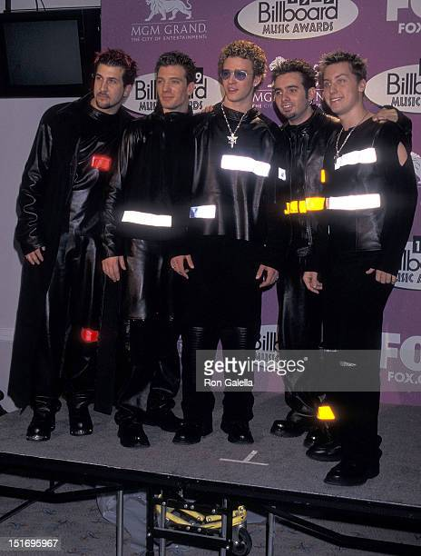 Pop group NSYNC Joey Fatone JC Chasez Justin Timberlake Chris Kirkpatrick and Lance Bass attend the 10th Annual Billboard Music Awards on December 8...