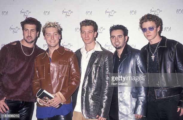 Pop group NSYNC Joey Fatone Lance Bass JC Chasez Chris Kirkpatrick and Justin Timberlake attend the 27th Annual American Music Awards on January 17...