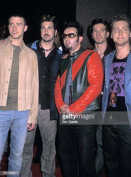 Pop group NSYNC Justin Timberlake Joey Fatone Chris Kirkpatrick JC Chasez and Lance Bass attend the Michael Jackson 30th Anniversary Celebration...