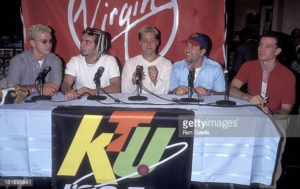 Pop group NSYNC: Justin Timberlake, Joey Fatone, Chris Kirkpatrick, Lance Bass and JC Chasez attend the Virgin Megastore Grand Opening Celebration on...