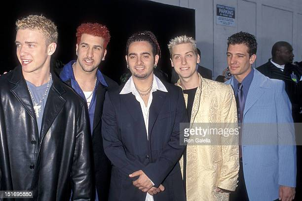 Pop group NSYNC Justin Timberlake Joey Fatone Chris Kirkpatrick Lance Bass and JC Chasez attend the Fifth Annual Blockbuster Entertainement Awards on...