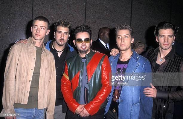Pop group NSYNC Justin Timberlake Joey Fatone Chris Kirkpatrick Lance Bass and JC Chasez attend the Michael Jackson 30th Anniversary Celebration...